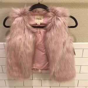Girls Pink Furry Vest - size 10/12